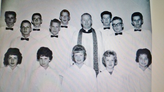 Here are the three kings some time later for our confirmation photo. I'm back row second from right, Lawrence Gruseth (Grouse) is back row far right. John Bjerke is second row far left.